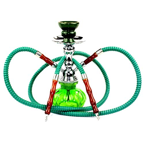 NeverXhale Premium Series: 11' 2 Hose Hookah Shisha Complete Set - Pumpkin Glass Vase - Pick Your Color (Spring Green)