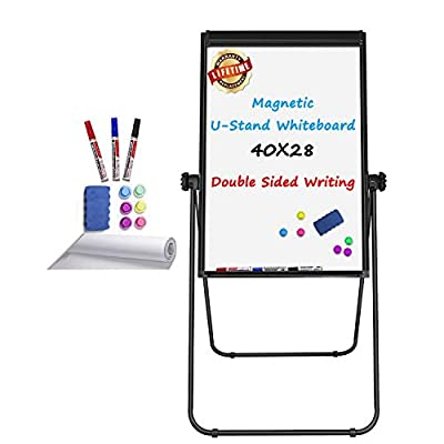 Stand White Board Magnetic 40 x 28 inches Dry Erase Board Double Sided Adjustable Easel Portable Rolling Whiteboards with Flipchart Hooks, Black