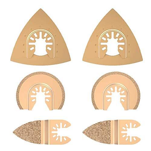 HLPIGF Herramientas Oscilantes de Carburo de 6 Uds, Hojas de Sierra para Herramientas MúLtiples de Cambio RáPido, Accesorios de Corte de CeráMica de Cemento de HormigóN y Baldosas