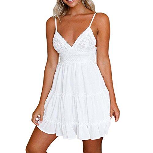MRULIC Damen Frauen Sommer Backless Mini Kleid Weiß Abend Party Strand Kleider Sommerkleid(Weiß,EU-40/CN-L)
