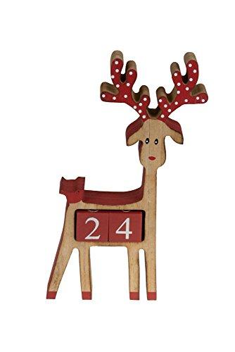 Clever Creations Calendario dell'Avvento a Forma di Renna - 100% Legno - Rudolph con Naso e Corna in Rosso - Decoro Natalizio Ideale per Tavolo/mensola - 16,5 x 18 cm