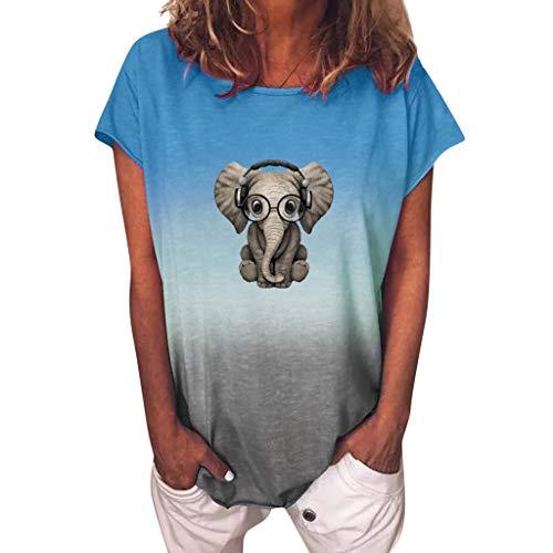 Damen Tshirt Tie Dye Kurzarm Sommer Oberteile Locker Tops Elegant Basic Shirt Mode Rundhals Hemd Bluse Farbverlauf Sweatshirt Bequemes Tunic Tunika Feder Schmetterling Streetwear(Blue,4XL)