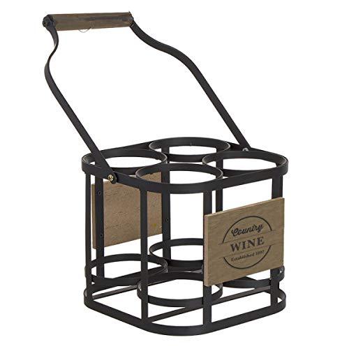 Deco Line Flaschenkorb für 4 Weinflaschen Weston, Metall/Holz, 35 cm