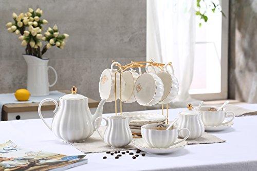 Lieras - Juego de té de porcelana de la serie Royal Británica, 8 tazas y platillo de servicio para 6, con tetera, azucarero, jarra de crema, cucharillas y colador de té para te/café, Lily White