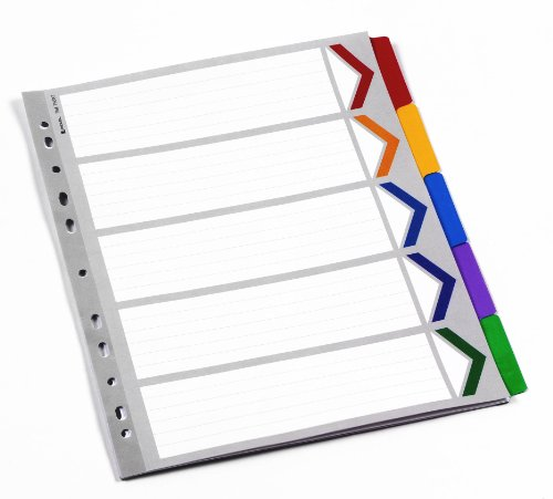 Rexel Mylar A4+ Dividers Extra Wide 5 Part - White/Multicolour
