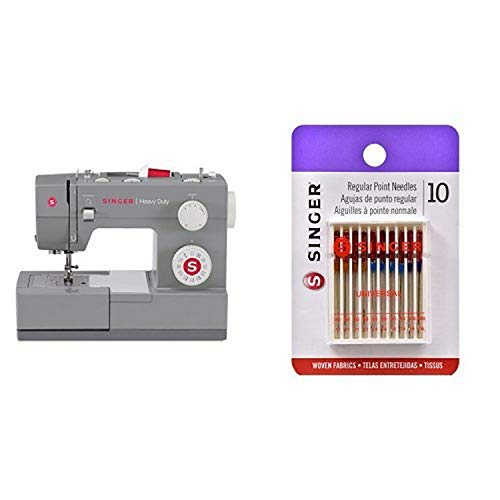 SINGER Sewing 4432 Heavy Duty Extra-High Speed Sewing Machine with Metal Frame and Stainless Steel Bedplate & Singer 10-Pack Regular Point Machine Needles Assorted, 4 Size 80/11, 4 Size 90/14 and 2 Size 100/16