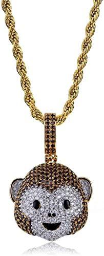 YANCONG Pequeño Diablo Expresión Colgante Collar Hip Hop Expresión Animal Color con Incrustaciones De Circón Collar Colgante Accesorios-Mono