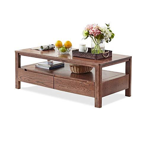 Z-GJM puur massief hout eenvoudige salontafel eiken salontafel met vier laden salontafel met partitie het massief houten materiaal is allemaal massief hout, bestand tegen druk en vocht, geen spli A