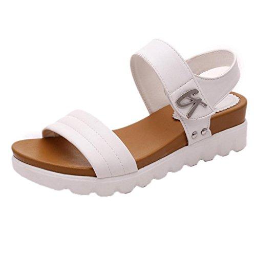 Beauty-Luo Sandali Donna Summer Sandals Women Aged Flat Fashion Sandals Comfortable Ladies Shoes - Sandali Donna con Tacco - Summer Shoe for Women (7.5, Bianco)