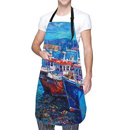 Delantal de Cocina Impermeable con Bolsillos,Imagen de barcos de vela en el puerto de la costa por,Ajustable Delantales Hombre Mujer Mandil Cocina para Jardinería Restaurante Barbacoa Cocinar Hornear