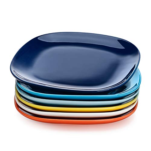Sweese 153.002 Porcelain Square Dessert Salad Plates - 7.4 Inch - Set of 6, Hot Assorted Colors