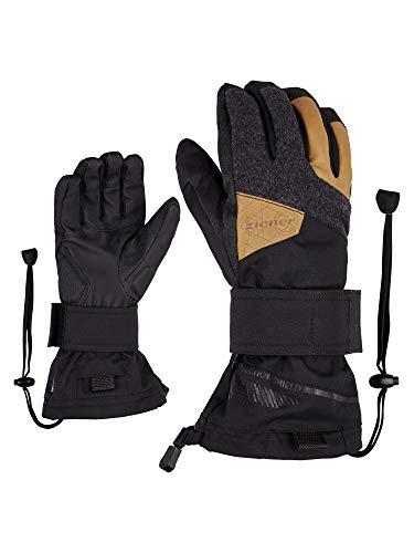 Ziener Erwachsene Maximus AS Snowboard-Handschuhe/Wintersport   Wasserdicht, Atmungsaktiv, Protektor Innenseite Und Oberhand, Black/Tan, 10,5