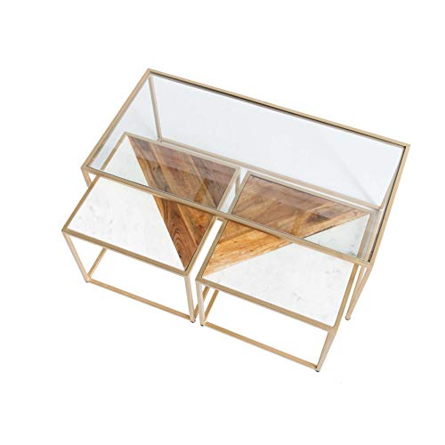 Kandla Large Glass Coffee Table with 2 Square Nest of Tables with White Marble & Wood Tops | Roseland Furniture Set of 3 Chic Side Sofa Tables with Gold Metal Legs for Living Room
