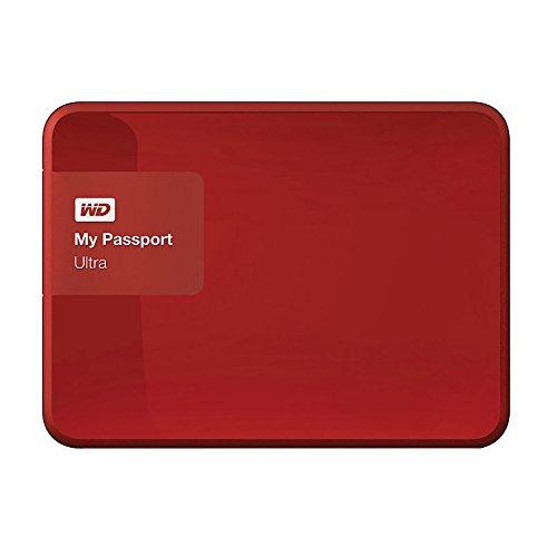WD My Passport Ultra Disque Dur Externe Portable 2,5' USB 3.0, cryptage matériel, Protection par Mot de Passe - recertifié, Capacité:1To, Couleur:Rouge