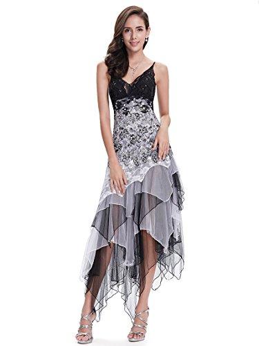 Ever-Pretty Vestido de Fiesta Noche Asimétrico en Encaje Volantes Escote Mujer Blanco y Negro 48