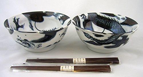 Ramen Suppenschüssel Set KOKURYU Drache Japan Porzellan Suppenschale Ø 18,3 cm, H. 8 cm