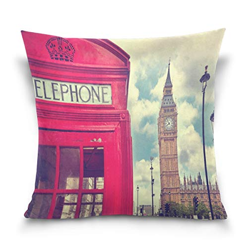 ETGeed Square Pillowcase, London Red Phone Booth Big Ben Cityscape Sofá Cama Funda de Almohada Funda