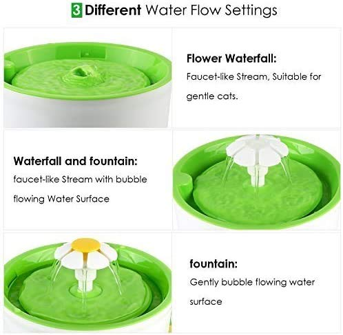 Fuente de Agua Silenciosa para Mascotas con Dispensador Circular en Forma de Margarita y 3 Modos Ajustables con Filtro de Carbón
