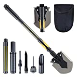 HARVET Military Portable Shovel and Pickax, 15-28 Inch Multi-Function Folding Shovel Survival Entrenching Tool with Saw, Rod and Knife for Hiking, Camping, Backpacking, Gardening, and Snow-Removing