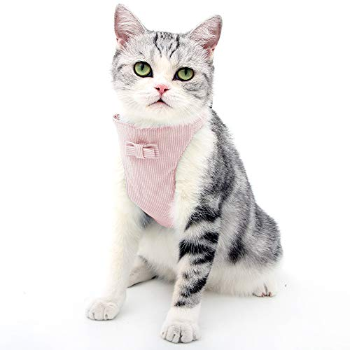 HEYWEAN Kitten Harness and Leash Escape Proof for Walking Adjustable Neck Cat Collar Rabbits Puppy Kittens Soft Breathable Mesh Pet Vest (L, Pink)