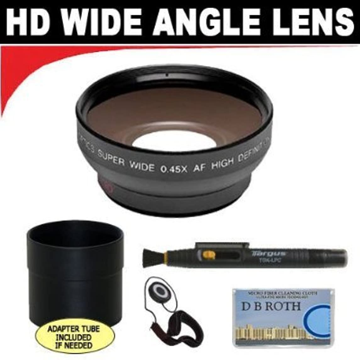 0.5x Digital Wide Angle Macro Professional Series Lens + Lens Adapter Tube (If Needed) + Lenspen + Lens Cap Keeper + DB ROTH Micro Fiber Cloth For The Olympus C-5000 Digital Cameras