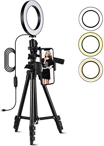 Ringlicht Mit Stativ, Henzin 6 Zoll Selfie Ringleuchte mit Stativ, 3 Farbe und 10 Helligkeitsstufen, Dimmbare LED Ringleuchte für YouTube-Videoaufnahmen/Live-Stream/MakeupVideo/Vlog/Fotografie