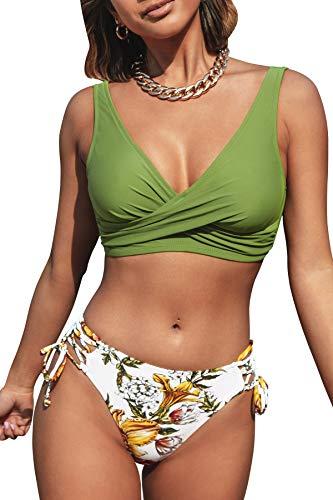CUPSHE Women's Bikini Swimsuit Floral Print Tie Side Twist Front Two Piece Bathing Suit, M Olive Green