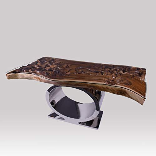 Rikmani - Möbel Tisch - Designer Tisch - Esstisch Massivholz - Baumstamm Tisch - Wohnzimmertisch - Schreibtisch Massivholz - Metallgestell (Schreibtisch Eden)