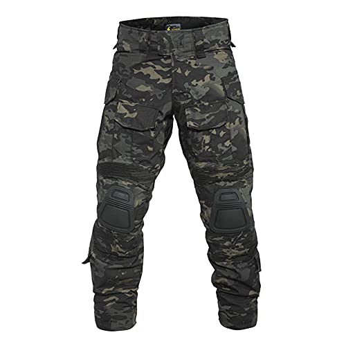 SR-Keistog Tactical Cargo Pants Men Combat Army Military Pants Cotton Many Pockets Stretch Flexible Trousers Shadow Camouflage 2XL