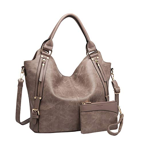 Women Tote Bag Handbags PU Leather Fashion Hobo Shoulder Bags with Adjustable Shoulder Strap, M,Khaki