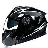 Casco de Motocicleta Abatible Integrado Cascos modulares de Moto de Visera Doble con Visera Completa para Hombres y Mujeres Adultos Dot/ECE Homologado (Color : White G, Size : L/Large 59-60cm)