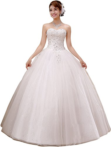 Obqoo Sweetheart Beaded Lace Appliqued Ball Gown