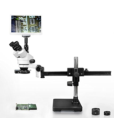 """Parco Scientific Simul-Focal Trinocular Zoom Stereo Microscope,10x WF,3.5x-90x Magnification,0.5X & 2X Aux Lens,Gliding Arm Boom Stand,144-LED 4-Zone Ring Light, 11.6"""" Retina HD Display,5MP Camera"""