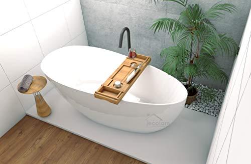ECOLAM exklusive freistehende Badewanne Standbadewanne moderne Wanne freistehend Goya + Ablage Bambus + Ablaufgarnitur Click Clack Design Mineralguss 160x70 cm glamour weiß