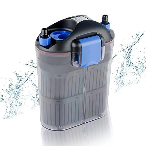 FREESEA Fish Tank Aquarium Filter: 9W 135GPH External Canister Aquarium Filter Ultra Quiet Three-Layer Filtration for 20-150 Gallon Fish Tank Desktop & Hang On Filter