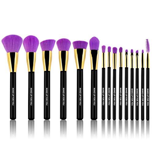LNLW Maquillage complet 15pc Brush Set, Kit fibre cosmétique de toilette Brosse de maquillage des yeux avec l'emballage
