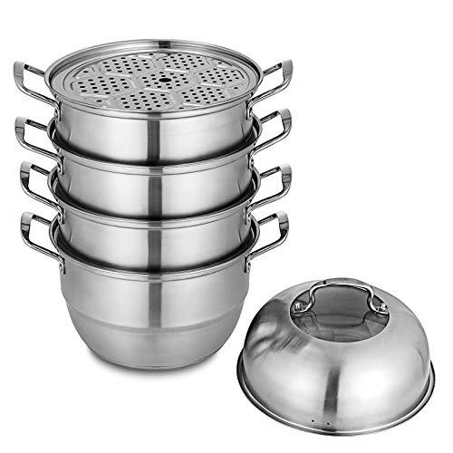 Olibelle Cuiseur à Vapeur 5-Tier Dumpling Steamer de 28 cm de Diamètre Cuit-Vapeur en INOX pour Bar ou Restaurant (28 cm)
