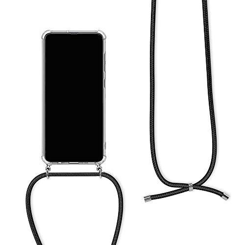 Orgstyle Handykette für OnePlus 5T Hülle, Necklace Schnur Hülle Weichem Silikon Transparent Schutzhülle mit Band zum umhängen, Schwarz
