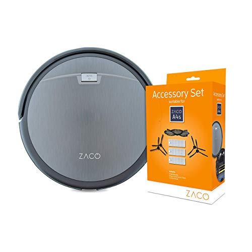 ZACO A4s - Robot Aspirador con Sistema de Limpieza CyclonePower con Diversos Modos de aspiración + Juego de Accesorios para aspiradora Zaco A4s