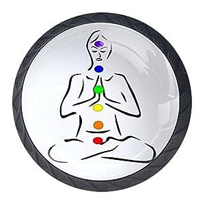 Meditating Yoga 01 Door Knob 4 Pieces Handle Pull Kid's Room Great&Fun Decor Pull Knobs for Cupboard/Cabinet/Wardrobe/Drawer 3.5x2.8cm