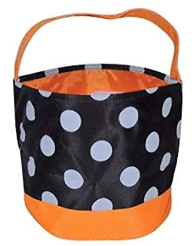 Jolly Jon Bolsas para trucos o dulces de Halloween  Bolsa para dulces para nios, color negro con lunares blancos  cesta naranja de 17 cm de alto x 22 cm de dimetro