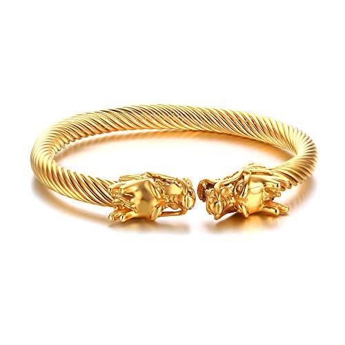 VNOX Herren Edelstahl Gegenüber Drachenkopf Draht Viking Stulpe Armreif Armband Gold