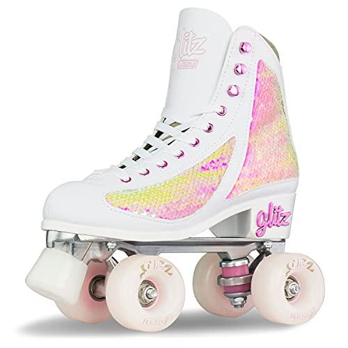 Crazy Skates Glam Rollschuhe für Damen und Mädchen – Dazzling Glitter Sparkle Quad Skates, Mädchen Damen, pearl, 4