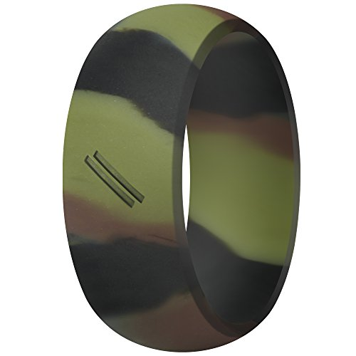 ThunderFit Silicone Wedding Ring for Men, Rubber Wedding Band (Camo, 9.5-10 (19.8mm))