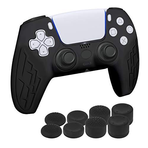 Newseego PS5 Controller Schutzhülle, rutschfeste Silikon Skin Grip Case Anti-Rutsch-Etui Schutz-Hülle mit Daumengriffen Aufsätze x 8 Gamepad Game Zubehör für PS5-Controller,Schwarz