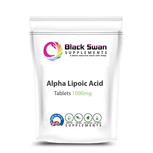 Black Swan Alpha Lipoic—Antioxidant Properties—Natural Supplement—Weight Loss—Anti-inflammatory—Healthy Blood Pressure—Healthy Cholesterol—1000 mg Vegan Tablets (60 tabs)