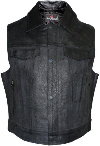 Lederhemd Motorrad Kutte Lederweste Bikerweste Motorradweste Weste schwarz, Größe:50