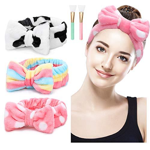 (15% OFF Coupon) Spa Headband 3pcs Coral Fleece W/ 2 Silicone Mask Applicator Brush $5.94