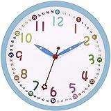 Foxtop Moderno Orologio da Parete Bambini Silenzioso con Colorato Design 30 cm (Blu)