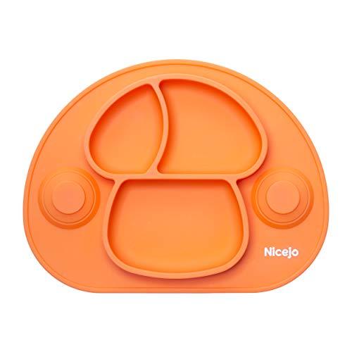 Plato Bebé Con Ventosa - Vajilla de Silicona Alimentaria - Mantel Antideslizante Para Trona - 3 Compartimentos Papilla – Niños 6-18 Meses – Apto Para Lavavajillas Y Microondas (Naranja)